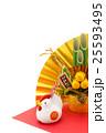 酉年・ニワトリと門松と金扇子 25593495