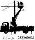 Electrician, making repairs at a power pole. 25596958