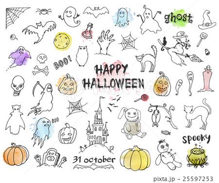 Set of Halloween doodles 25597253