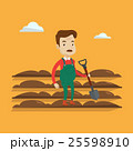 Farmer with shovel at field vector illustration. 25598910