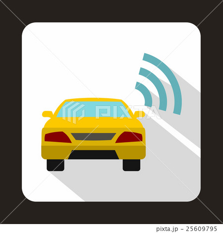 Car with wifi sign icon in flat styleのイラスト素材 [25609795] - PIXTA