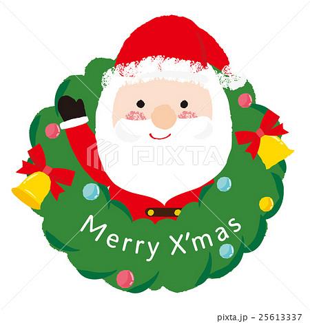 クリスマスリースとサンタのイラスト素材 25613337 Pixta