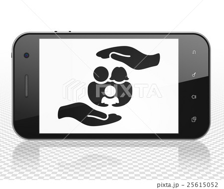 Insurance concept: Smartphone with Family And Palmのイラスト素材 [25615052] - PIXTA