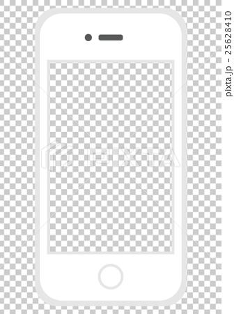 イラスト素材 スマートフォン 白 画面透過のイラスト素材 25628410 Pixta