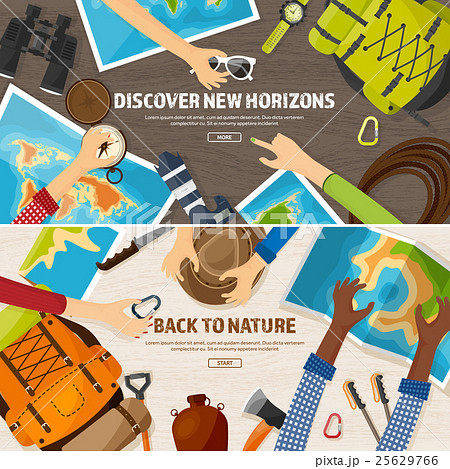 Travel and tourism. Flat style. World, earth mapのイラスト素材 [25629766] - PIXTA