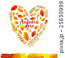 Heart of watercolor Autumn leaves 25630999