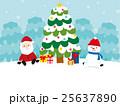 クリスマスツリー サンタクロース プレゼントのイラスト 25637890