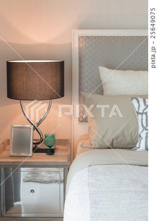 tea set cup on wooden tray in bedroomの写真素材 [25649075] - PIXTA