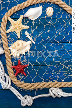 Marine network rope and starfish on a blue diskの写真素材 [25650080] - PIXTA