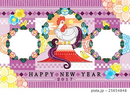 2017年酉年完成年賀状テンプレート「鶏親子と写真フレーム 」HAPPYNEWYEAR 25654848