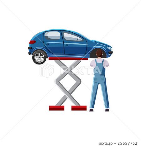 Blue car on a scissor lift platform iconのイラスト素材 [25657752] - PIXTA