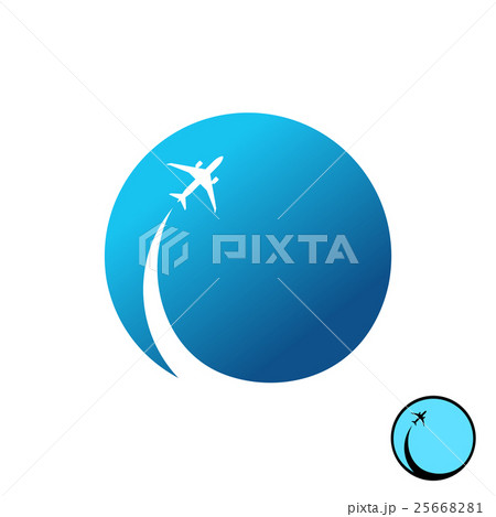 Airplane with sky round logo. Jet plane and trail.のイラスト素材 [25668281] - PIXTA