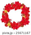 クリスマス ポインセチア リースのイラスト 25671167