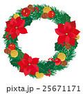 クリスマス ポインセチア リースのイラスト 25671171