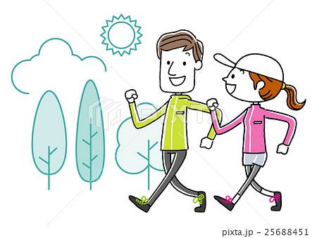 スポーツウォーキングする若いカップルのイラスト素材 25688451 Pixta