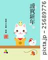 年賀状 酉年 猫のイラスト 25689776