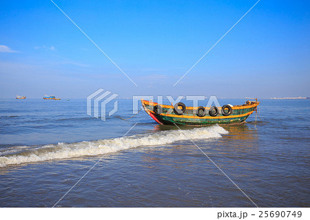 Fishing boat under blue sky at long hai beach for Long beach fishing boat