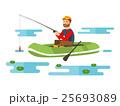 Fisherman in a boat. Vector illustration 25693089