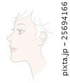 顔 女性 横顔のイラスト 25694166