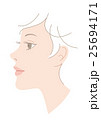 顔 女性 横顔のイラスト 25694171