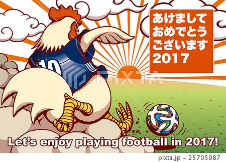 2017年賀状テンプレート「サッカーニワトリ」 日本語賀詞 添え書き無し ハガキ横