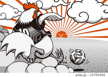 2017年賀状テンプレート「サッカーニワトリ」 賀詞・添え書き無し ハガキ横 赤&黒