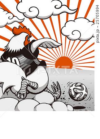 2017年賀状テンプレート「サッカーニワトリ」 賀詞・添え書き無し ハガキ縦 赤&黒