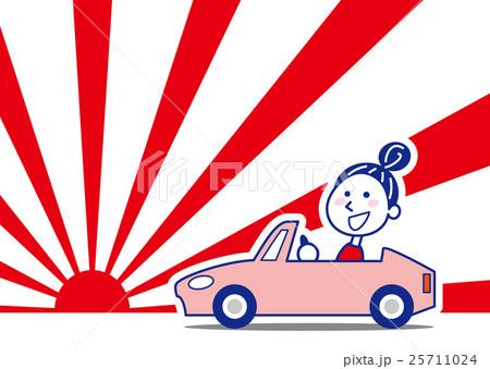 初日の出 楽しくドライブお姉さん 25711024