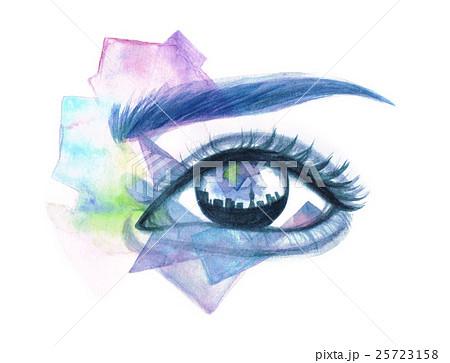 瞳に映る街のイラスト素材 25723158 Pixta