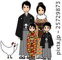 お正月 家族 ニワトリのイラスト 25729873