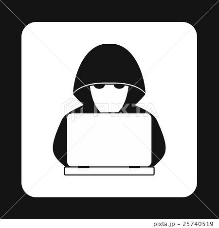 Hacker behind a computer icon, simple styleのイラスト素材 [25740519] - PIXTA