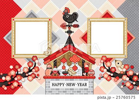 2017年酉年完成年賀状テンプレート「鶏家族と風見鶏写真フレーム」HAPPY NEW YEAR 25760575