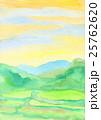 手描き田園風景で水彩風景画で黄色と緑色の水田 25762620