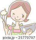 お菓子をつくる若い女性 25770707