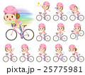 pink wear women ride on rode bicycle 25775981
