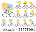 Behind knot hair women ride on rode bicycle 25775991