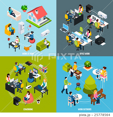 Coworking Concept Icons Set 25778564
