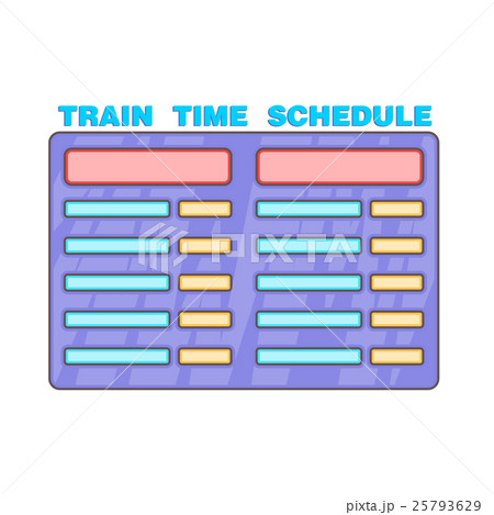 schedule time of trains icon cartoon styleのイラスト素材 25793629