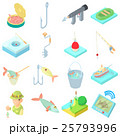 Fishing icons set in cartoon style 25793996