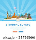Stunning europe poster with famous attractions. 25796990