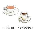 紅茶とコーヒーの手描きイラスト 25799491