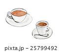 紅茶とコーヒーの手描きイラスト 25799492