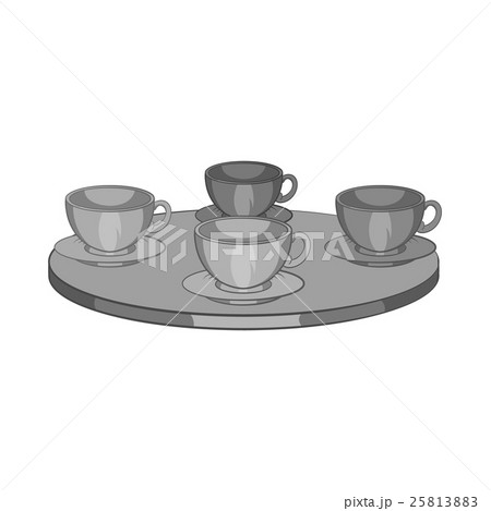 Four mugs on the table icon, monochrome styleのイラスト素材 [25813883] - PIXTA