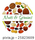 Nutritious nuts and grains elements vector label 25823609