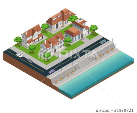 suburban house isometric composition のイラスト素材 25830721 pixta