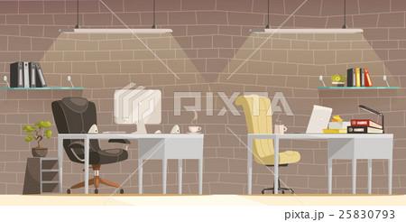 modern office desk lighting cartoon poster のイラスト素材 25830793