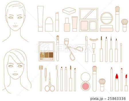 メイクアップ 化粧品のイラスト素材 25863336 Pixta