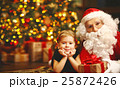 happy child girl hugging Santa 25872426