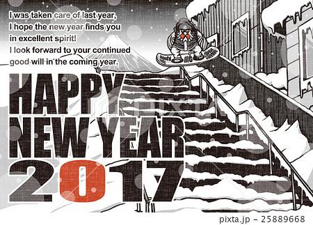 2017年賀状テンプレート「スノボニワトリ」 英語賀詞 英語添え書き入り 赤黒2色 ハガキ横