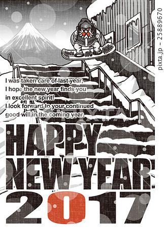 2017年賀状テンプレート「スノボニワトリ」 英語賀詞 英語添え書き入り 赤黒2色 ハガキ縦